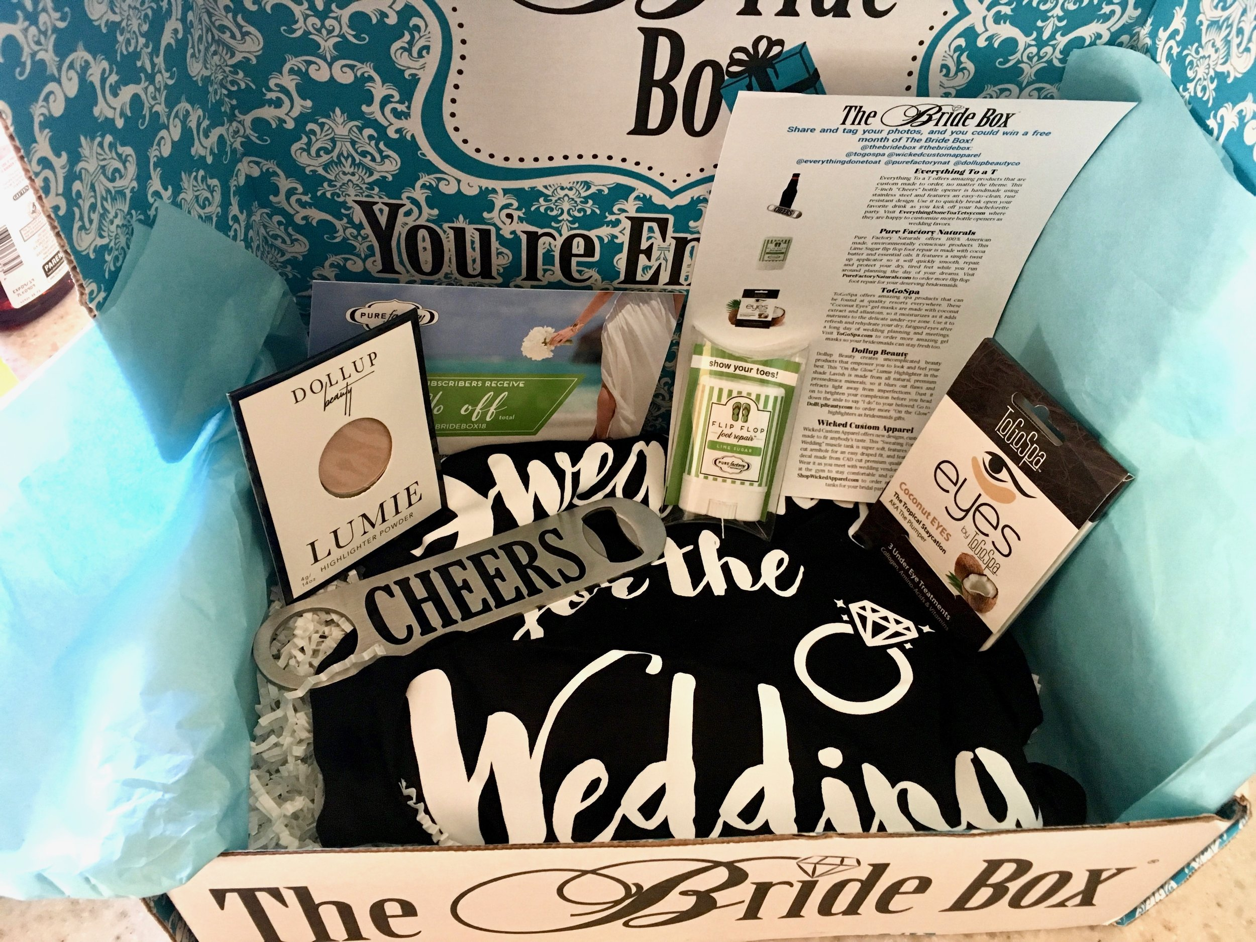 Subscription box sample from the bride box