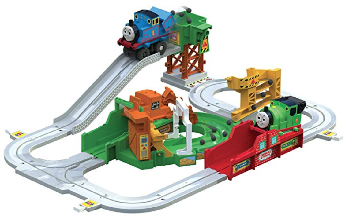 Thomas & Friends Big Loader, Sodor Delivery Set - A train set is always a safe bet when it comes to the little ones, and a Thomas & Friends Train Set is an even better idea. This set comes with over 8 feet of track, Thomas the engine, and 2 of his friends. It's fun to build and play. This set runs on 1 AA battery. So the trains will go on their own. TOMY also has some other awesome games like the Fizzy Dizzy Hippo, where you press down on the soda can while he drinks, and sings a silly tune, and when he's had enough, he will let you know it! Phil the Fridge has a different spin on the shapes game, where Phil will spin around, and when he stops, the kids try to put in the matching shapes quickly. Click on the pictures to see more info!