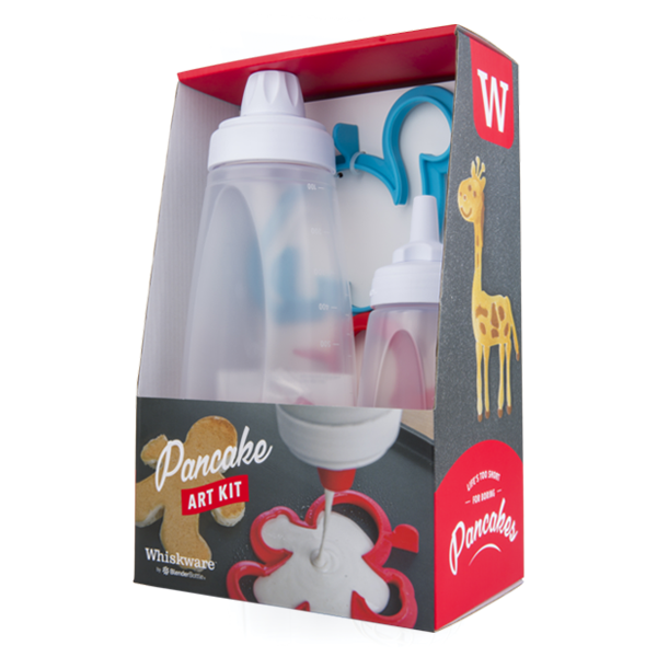 """Whiskware Pancake Art Kit & Kitchen Tools - Pancakes are a staple for breakfast in our family. Whenever the kids stay the night at my parents house, and I am there, they always know that """"Auntie Rara"""" will be making chocolate chip pancakes for them the next morning. So, when I discovered Whiskware's pancake art kit, I knew it was a must for Grandma's house. First, the Whiskware bottle makes it easy to whip up your pancake mix and easily pour it into these super cute shapes to make dino or gingerbread men pancakes. (They even have a new unicorn shape, that is sure to be the new household fav.) And it even comes with a Pancake Art Bottle, so you can draw or write on your pancakes and make your own pancake art. While you're busy whipping up awesome pancakes, you can use their egg mixer to quickly scramble up 8 eggs, and get that cooking in no time. There's a similar one for dressings as well. One of our other favorite products is their mini and mid-size snack containers. It comes with 3 containers that screw on to each other, and has a handle for easy carrying. Perfect for snacking on the go, or lunch boxes. And they come in 2 different colors, and 2 different sizes. We're loving all our new creative kitchen tools from Whiskware."""
