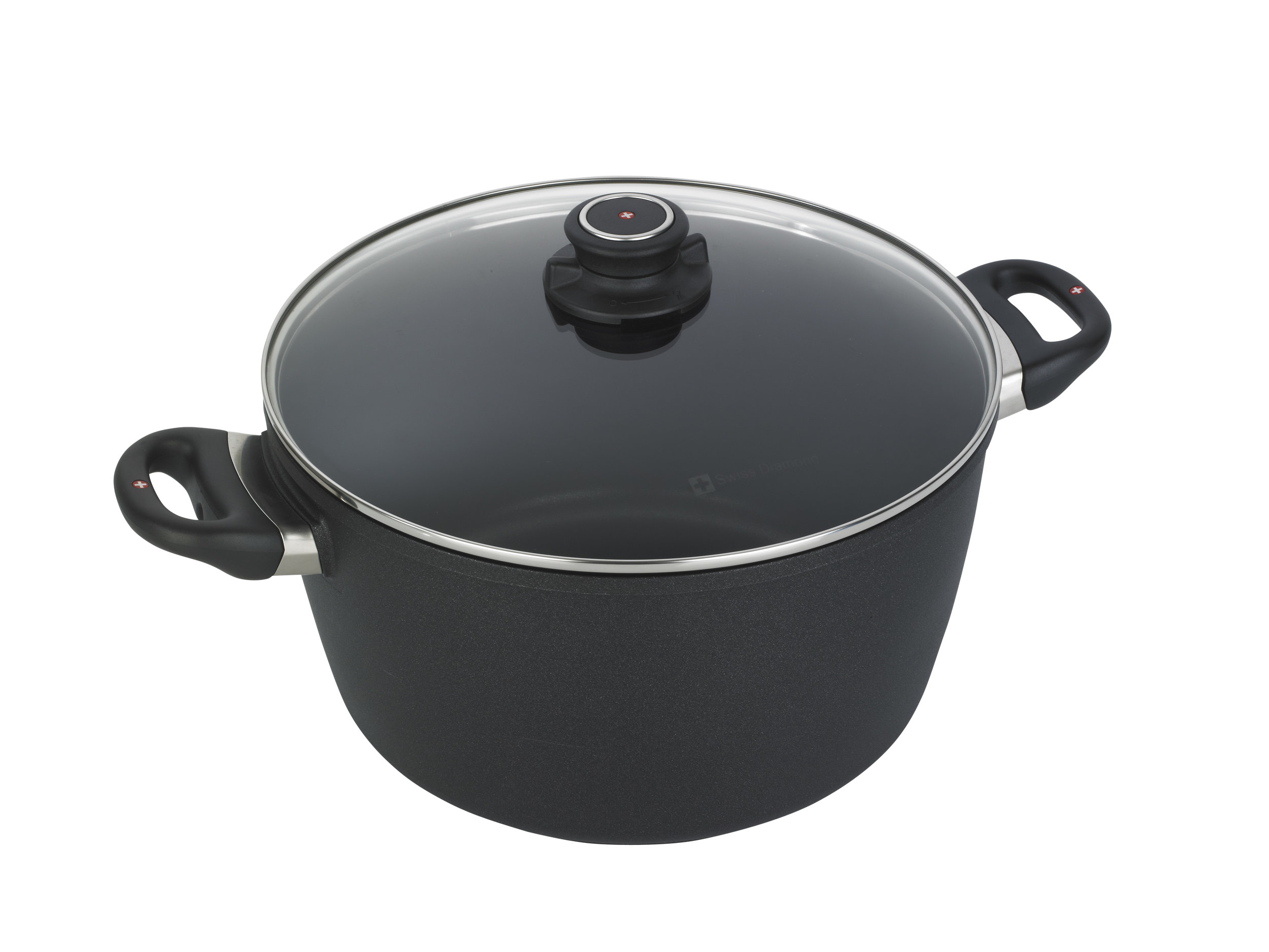"""Swiss Diamond INDUCTION STOCK POT - Winter is almost here, and this Swiss Diamond Induction Stock Pot will make all your soups, stews, pastas, and chilis easy to make. This stock pot comes from their HD line of products, measures 11"""" and has an 8.5 quart capacity. It is also over safe, and will work on most types of stoves. It is super easy to clean, and you don't even have to prep your pot before cooking. It's built right in with diamond coating which allows for a nonstick surface. Diamonds?! Yes! These Swiss Diamond pans contain """"up to 240,000 real diamond crystals!"""" And """"Diamonds conduct heat better than any metal and four times better than Copper!"""" They say diamonds are a girl's best friend…why not add it to your cooking lineup?! The pot itself is made of cast aluminum plus the diamond coating, which makes for even heating all around. This induction stock pot also has an awesome lid made of heat-tempered glass that has an adjustable vent, so no more having to balance your lid on the side to let steam out. Once you get your first Swiss Diamond pot or pan, you're not going to want to go back!"""