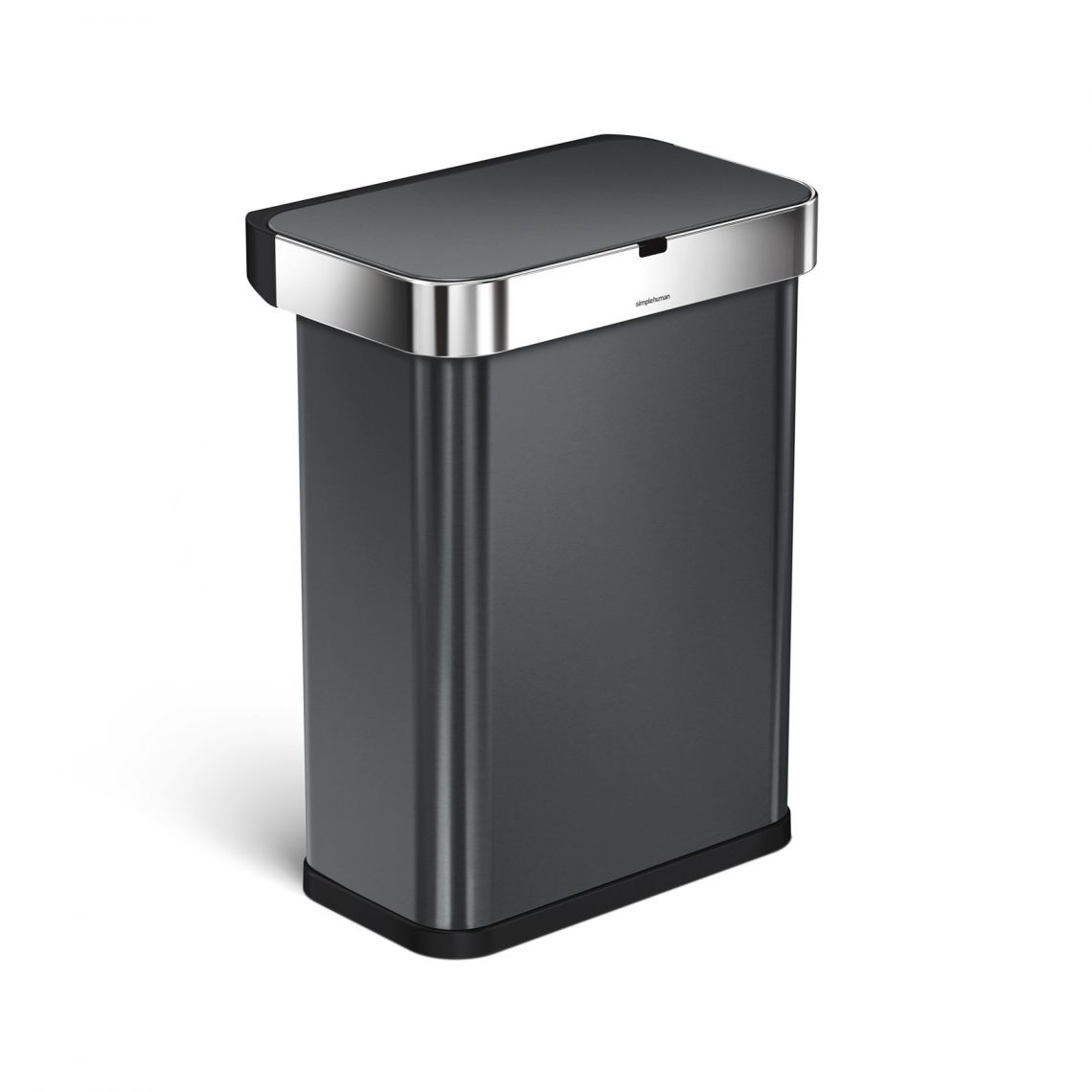 """simplehuman sensor trash can - We've found an awesome smart trash can that will make wish you've always had this one. This simple human can is voice and motion sensored for easy use. All you have to do is say """"open can"""", and the lid will open for you, no matter how far away you are. It's also motion sensored, so you can wave your hand over the lid, and it will open. There are also no false opens, when someone passes by…and the lid won't just close on you, if you're standing in front of the trash can too long. It has a sensor that knows you're still using the can, and won't close until you walk away. The lid has a quiet motor, so no worries about a noisy trash can. But the sensor is just the cherry on top for this can. Inside, there is a pocket built right in, to store your liners. The lid also has a hide away cover, so you won't even see your trash bag liner from the outside, giving it a nice clean look. This can comes in 5 different colors to match your kitchen. This black stainless steel fit perfectly in our house. It also has An invisible nano-silver clear coat"""" so there's protection from finger prints and germs. It runs of batteries or you can plug it right in. Simplehuman also has a 5 year warranty, so you can rest easy that it's going to last. Best trash can we've even owned!"""