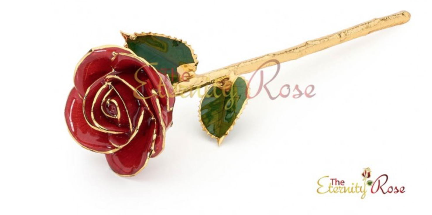 Eternity Rose - Sure, Roses are always a great gift for a woman, but they don't last very long. Why not get her a rose that will last forever? These Eternity Roses are real roses that are then dipped in 24K gold, Platinum, or Silver. We loved this Red Glazed Rose. It's a real rose that is glazed and gold-trimmed. It reminded us of the Beauty and the Beast rose. Except this one won't be losing any petals. These are perfect for Christmas, birthdays, or even an anniversary gift. Just like True Love that never dies. Wow her with a beautiful Eternity Rose.
