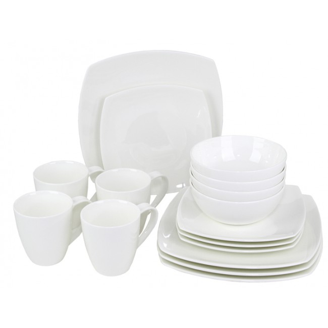 """Oneida MODA 16-PIECE DINNERWARE SET - I have always loved the modern and clean look of squared dishes, and Oneida had the perfect set for us. This 16-piece is made of premium porcelain, and best of all…they are dishwasher and microwave safe. We've had dishes before that were couldn't go in the dishwasher, so it was hand dishes every night, and we've had dishes that couldn't go in the microwave, so we had to use extra dishes to heat up left-overs. It was too much of a fuss for us in our busy day to day lives. So we love how manageable these dishes are. This 16-piece set comes with everything you need for your 4 place settings. It includes 4 of each; 10.5"""" dinner plates, 8"""" salad plates, 6""""/24 ounce bowls, and 16 ounce mugs. This Moda Dinnerware set comes in a set of 4, so you can easily get the amount of dishes you need. The clean white set can be paired with any color you have in your kitchen, so it essentially goes with everything. The unique shape makes it unique and stylish, to up your tableware game. They can be used for special occasions or every day use. We are definitely using these every day!"""