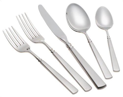 ONEIDA SATIN EASTON 46-PIECE FINE FLATWARE SET - After finding the perfect set of dishes from Oneida, we needed a great flatware set to match. I absolutely loved their Satin finish on their flatware sets, and found this Satin Easton set that would match great with our new dishes, since it has the rounded square tip. The Satin Finish gives it a softer more matte look. This 46-piece set contains service for 8 place settings including; Dinner Knives, Dinner Forks, Salad Forks, Dinner Spoons, and Teaspoons. It also comes with 6 additional pieces including; a Serving Ladle, Serving Spoon, Pierced Serving Spoon, Sugar Spoon, Butter Knife and a Serving Fork. This set is made of high quality Stainless Steel and has a Satin Finish. They are also dishwasher safe, just grab it out before your dry cycle, and dry them by hand for longer lasting shine. Oneida's flatware collections give you everything you need to have matching flatware, no need for the extra pieces, they're already included.