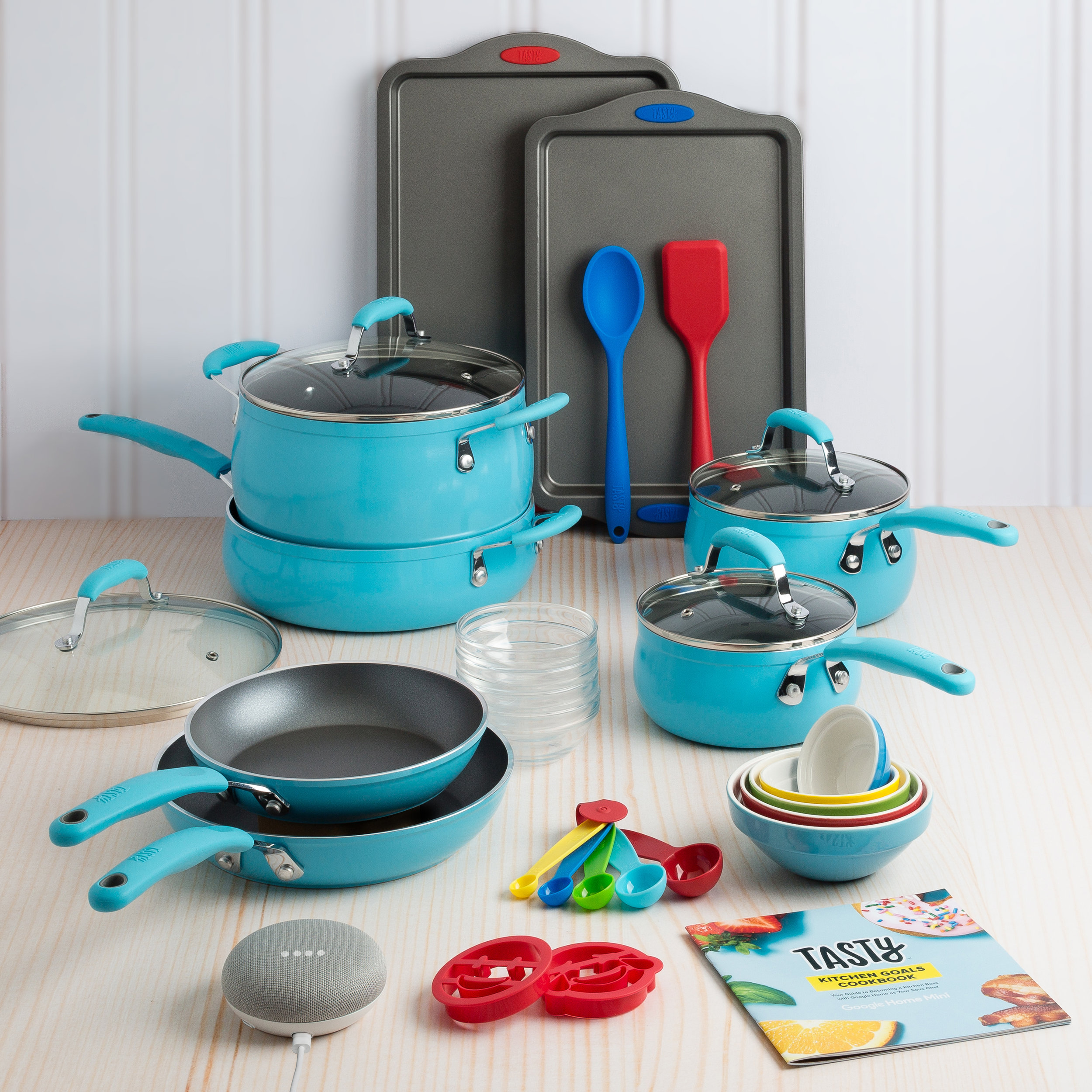 Tasty 30-Piece Cookware Set - W/Google Home Mini - This awesome 30 piece cookware set from Tasty will be on sale for $99 on BLACK FRIDAY!!! It come with a Google Home Mini, and seriously includes everything you need to stock your kitchen! It has your frying pans and sauce pans, 4 different pots with lids, cookie sheets, mixing bowls, measuring spoons, prep bowls, utensils, and even some emoji cookie cutters! Plus, you'll get a Tasty recipe booklet as well.It comes in 3 great colors, blue, red, and copper. The Google Home Mini has Tasty's full recipe book, so you can easily get any recipe you want through Google's smart commands. Then Google Home Mini can tell you step-by-step what to do as you go! This is a perfect gift for newlyweds, people who have just moved into a new home, or who just want a brand new kitchen set. Don't miss out on this awesome Black Friday Deal!