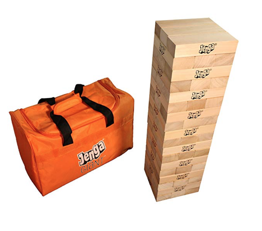 Jenga® GIANT™ JS7 Hardwood Game - What's better than playing Jenga?! Playing Jenga Giant! This classic game goes to new heights… it's starts at 2 feet high, and you can stack it to over 5 feet high. This set is from the makers of Jenga, so you're getting the real deal! This Jenga Giant is great for the outdoors, and at any party. It comes with 54 pieces to stack, and each block is over 14 times the volume of a Classic Jenga® block. It comes with Jenga SPORTS Tournament Charts for competitive play, and also a heavy-duty bag to place all the pieces in for easy carrying. They also have a Jenga XXL game that is made of cardboard pieces and can stack to over 8 feet tall. Don't ask us how you add your pieces to the top! If you're looking for a fun game for your kids to enjoy over and over, check out this Jenga Giant game. They'll have a blast trying to see how tall they can make it!