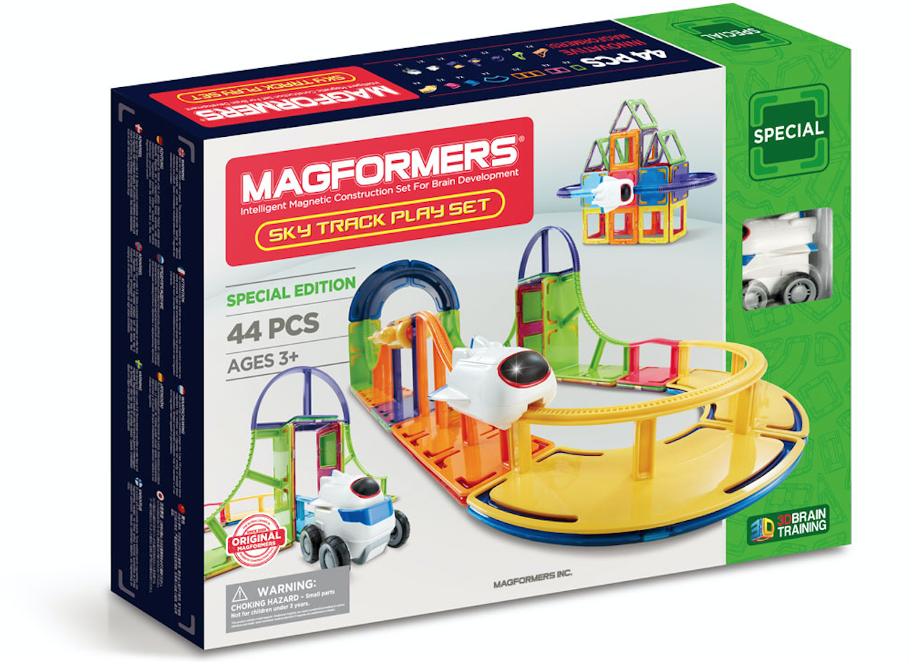 Magformers- Sky Track Play 44Pc SeT - Magformers has so many great sets for your builder kids. We loved this 44-piece Sky Track Play Set. It's a fun modern twist on a train set. This Sky Track can go around loops, twists and turns, and goes up and down. It has a 360 spin and even uses the lift elevator. Magformers works with magnets when you're building, so they click together and hold well. You can even stack and store the pieces easily. This set has 44 colorful, geometric pieces including track accessories, a sky vehicle, and an idea booklet as well. So your kids can get creative and build what they want. It even works with all other Magformer pieces as well.Your kids will love getting creative and building this fun Sky Track. Recommended for kids ages 3 and up.