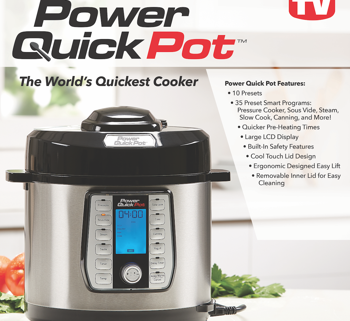 Power Quick Pot- TriStar - Pressure cookers have become very popular these days, as it helps making dinners so much easier, and faster. They help you make awesome savory meals with less time and energy. But if you ever thought of getting a pressure cooker, you need to check out this Power Quick Pot from TriStar Products. It's actually so much more than a pressure cooker, which makes it that much better. This Power Quick Pot also functions as a sous vide, slow cooker, rice cooker, steamer, canner, yogurt maker, and more! It comes with a Stainless Steel Inner Pot and a n0-mess splatter guard. You can get it in a 6, 8, or 10-quart size as well, so it can make the perfect portions for your family.The Power Quick Pot has 37 One-Touch cooking functions, heats up to 50% faster vs. other multi-cookers. It's also dishwasher safe, so makes for easy clean up. You can cook healthier, tastier food in much less time, and a lot less effort with this product.