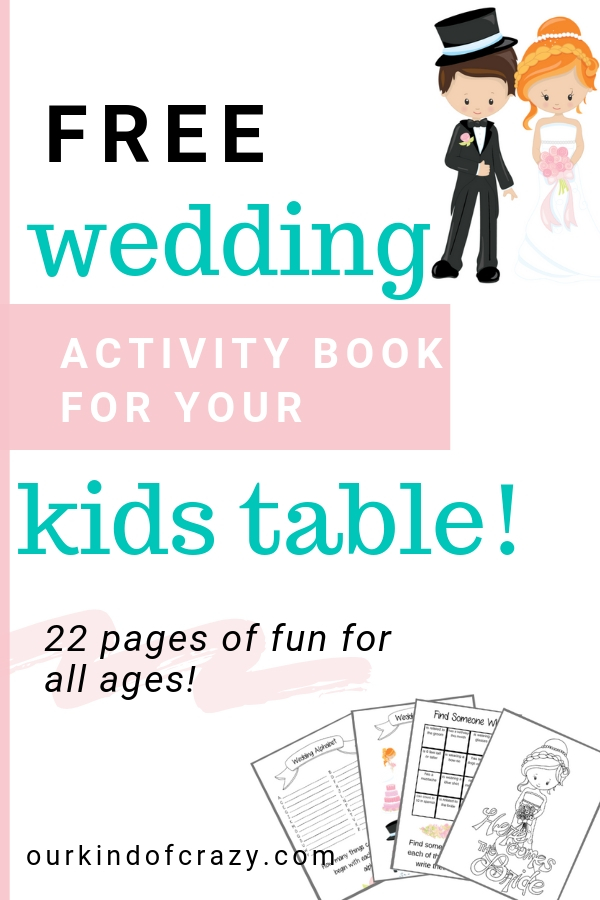 Free 22-page printable Wedding Activity Book for kids
