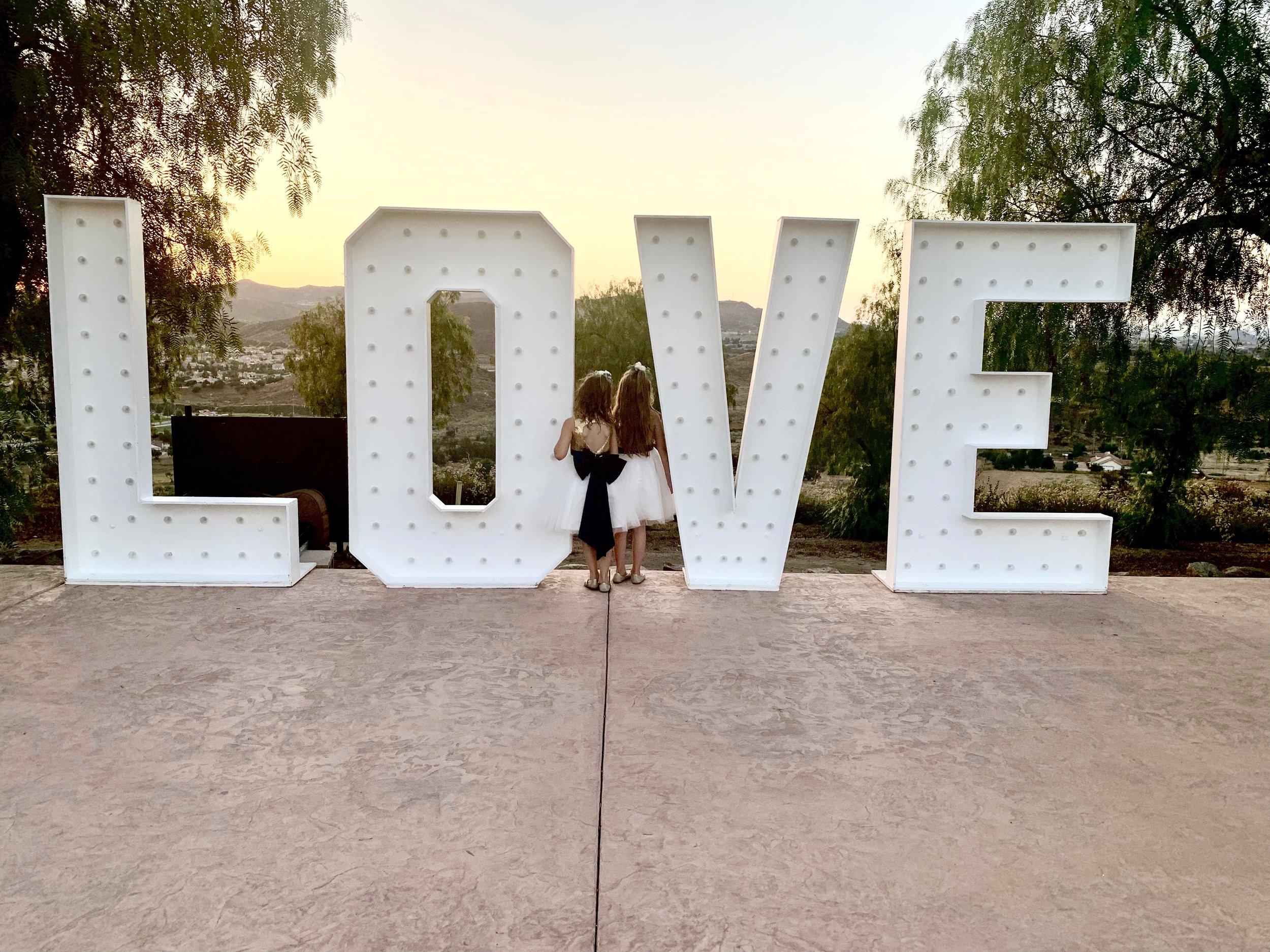LOVE marquee letters for weddings in Southern California