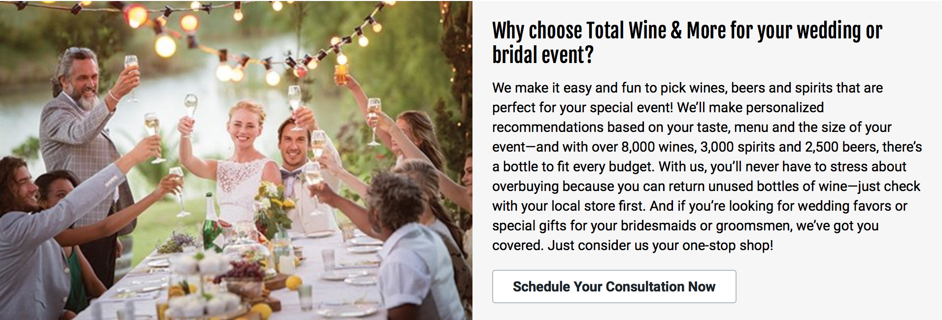 totalwine & More stock your own wedding bar