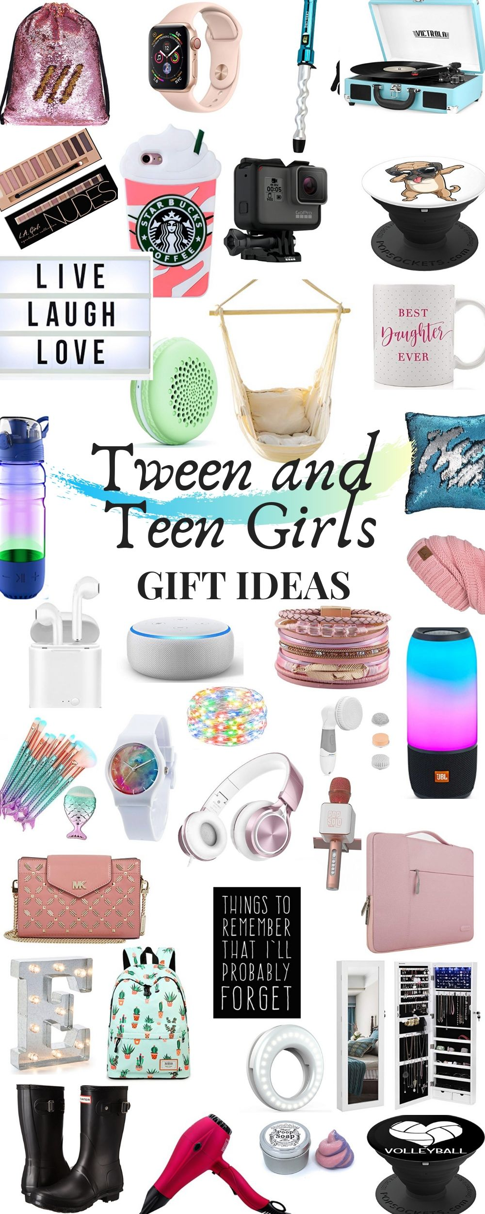 Tween and Teenage Girl Gift Ideas. Looking for a great gift idea for your tricky teenager? Here are some fun gifts your girl will love. Whether it be electronic gifts, teenage girl room decor ideas, or something fun for school, we've got you covered! #teengirl #giftideas #giftsforteens