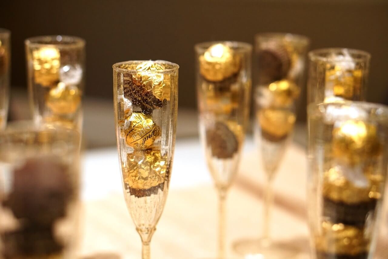 Champagne glasses full of candy at a bridal shower