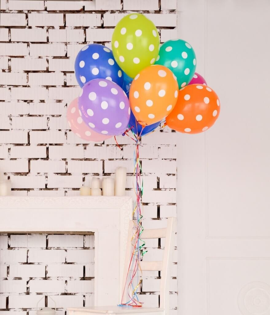 Bunch of balloons with polka dots