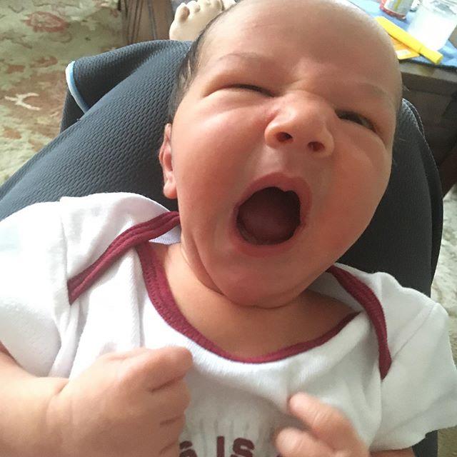 I am 1 week old today! #baby #milestones #yawn #bigsister #twokindsofwonderful