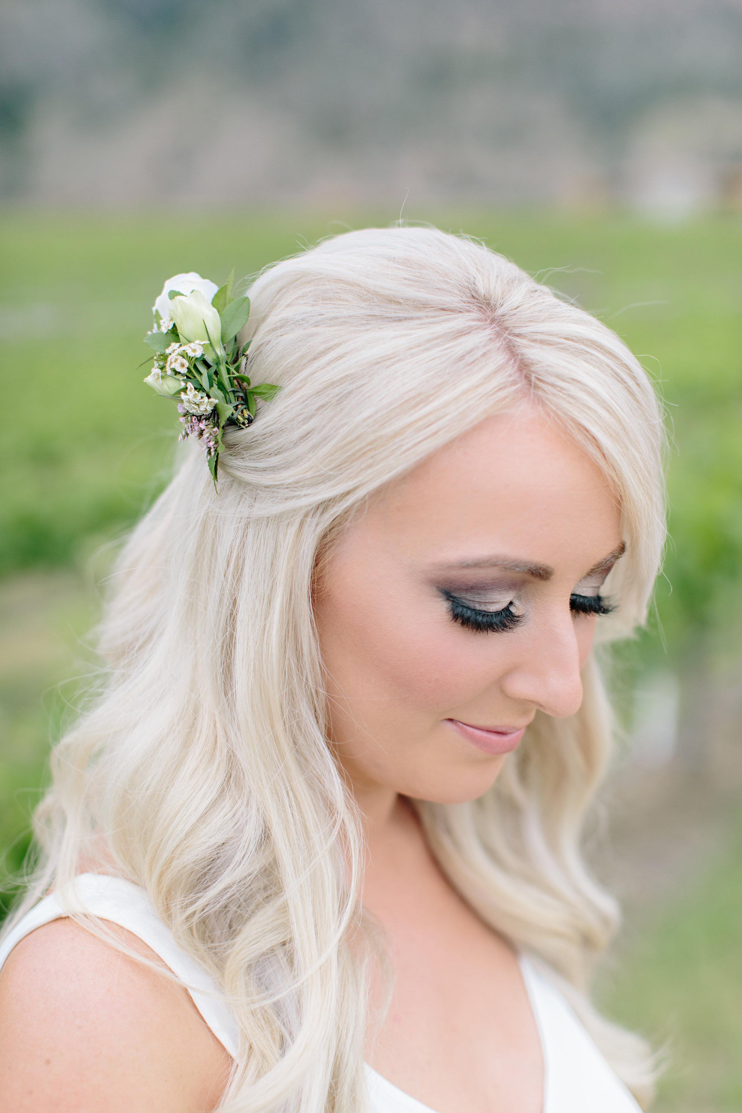 Okanagan Vineyard Bridesmaid Floral Comb Makeup Hair Inspiration.jpg