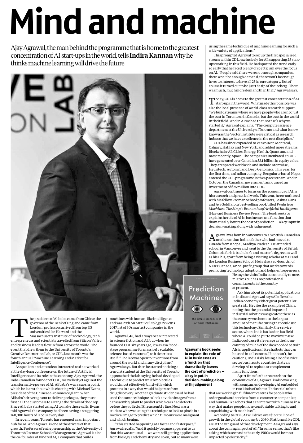 Business Standard (India) Interview featuring Professor Agrawal