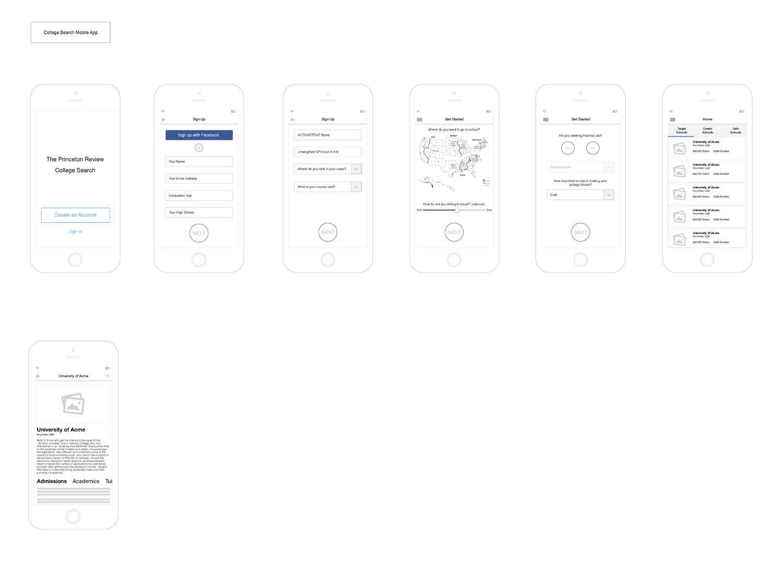 Prototype wireframes v0.1