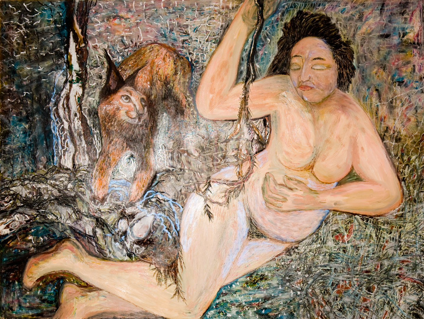 Old Woman with Lynx, oil, 2002
