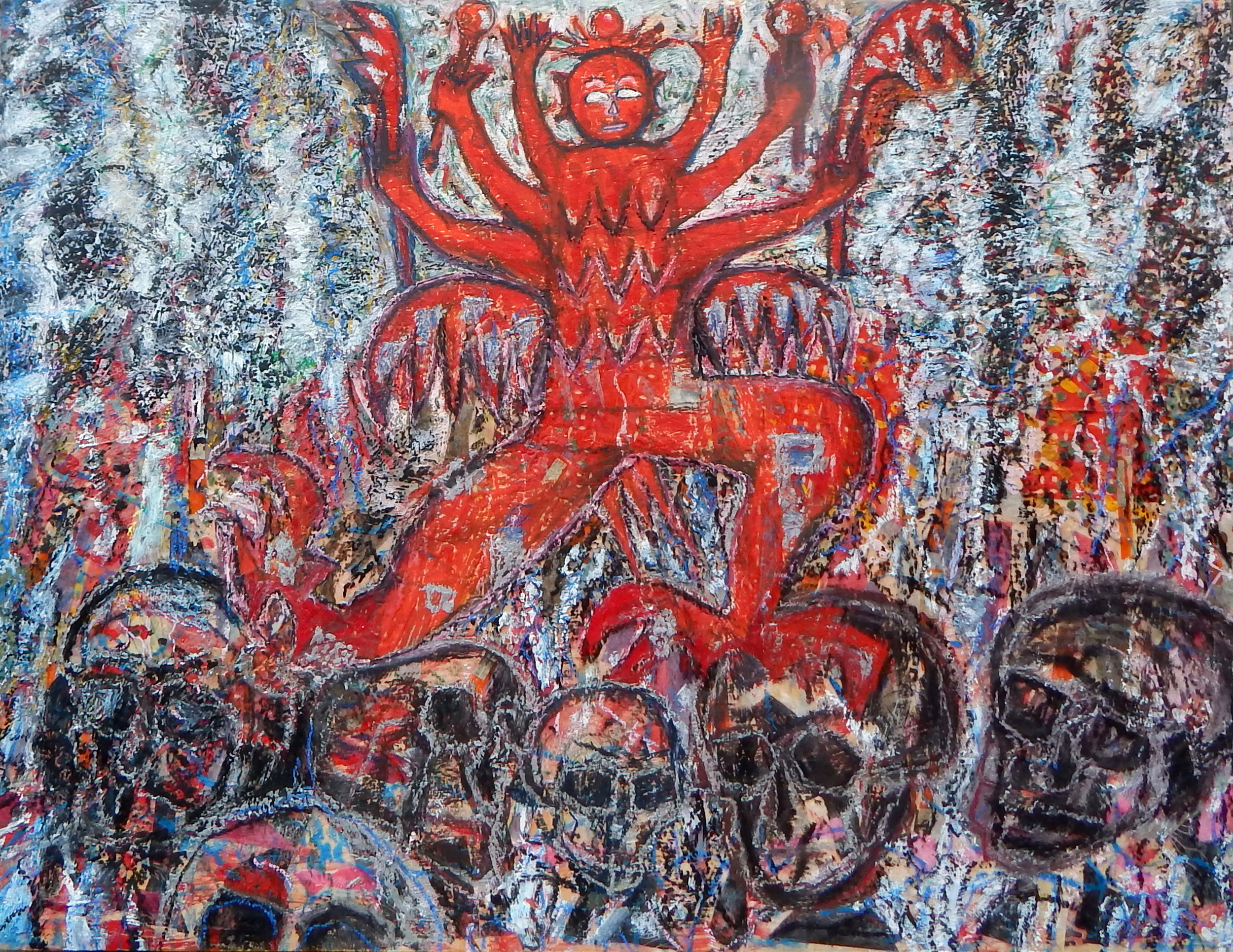 Vanquishing the Ghosts, encaustic and oil, 2014