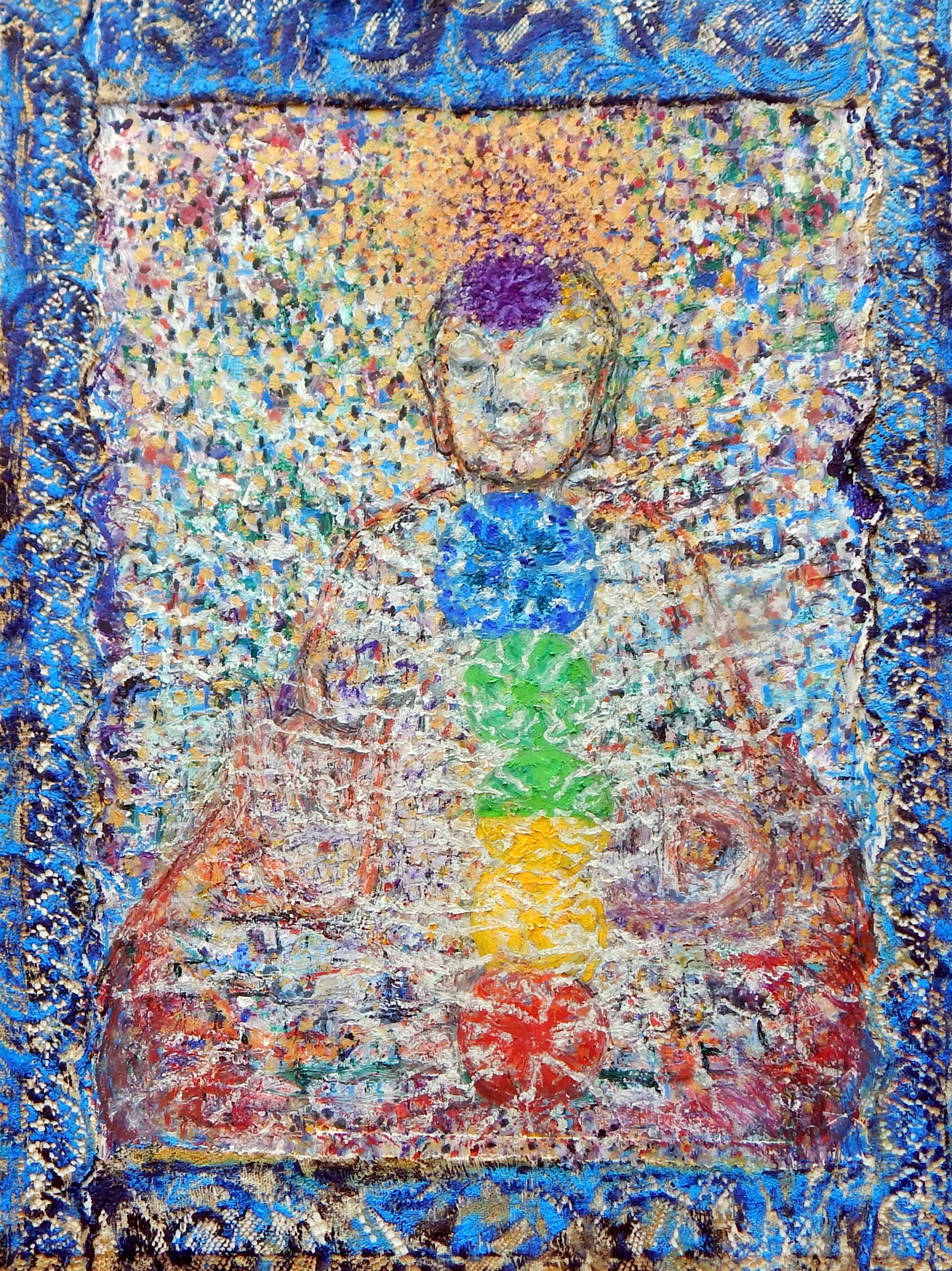 Google Guan Yin, oil, oil pastel, mixed media, 2016