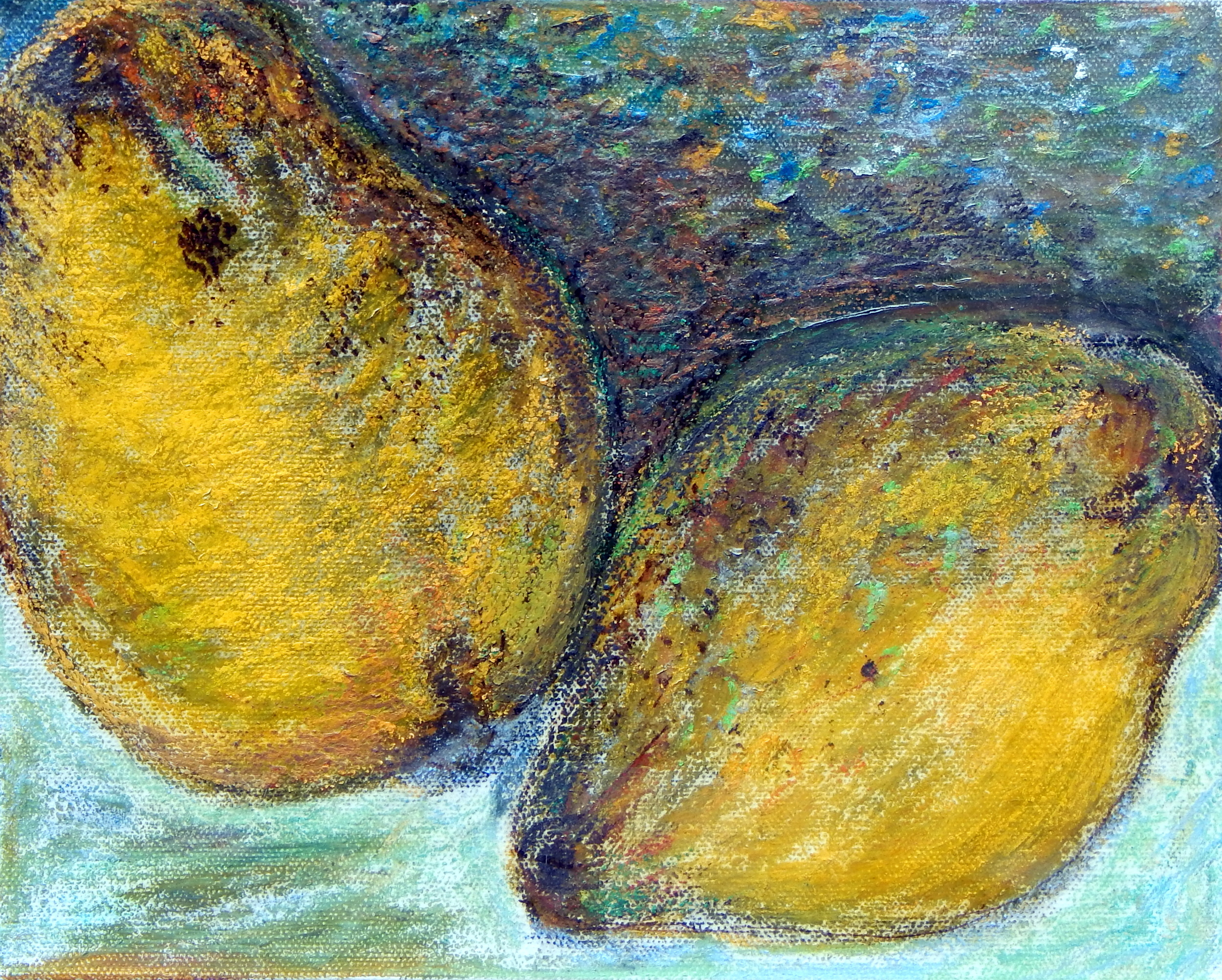 Pears series, oil pastel, oil, 2012