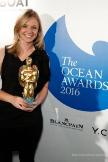 EMily penn wins the fitzroy award at the ocean awards 2016