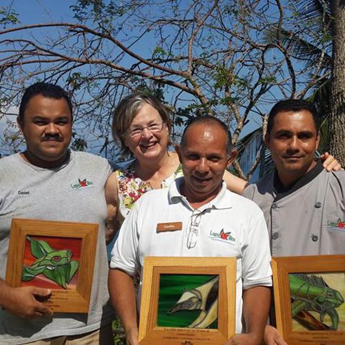 Karen Lewis with staff, Lapa Rios, Costa Rica