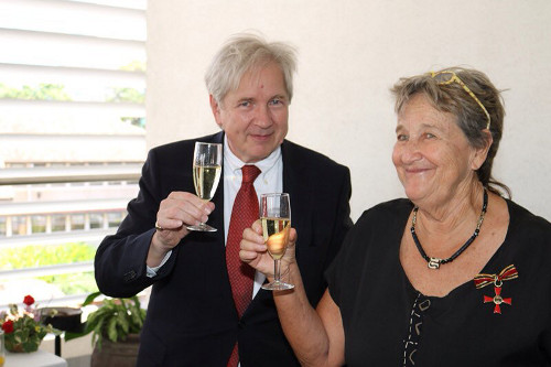 in 2016 Sibylle Riedmillerwas awarded the Cross of the Order of Merit of the Federal Republic of Germanyby the German Ambassador, Mr. Egon Kochanke,