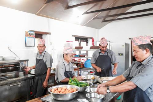 Tiger Mountain Pokhara Lodge Kitchen - Head Cook Lalu & Team