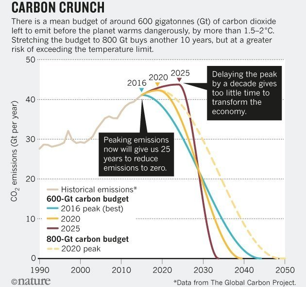 (c) Nature - Carbon Crunch - global carbon project data