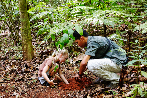 guide planting tree with child guest, Lapa Rios, Costa-Rica