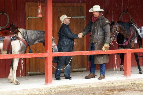 bruce greeting visitor at Linden Tree Retreat Ranch