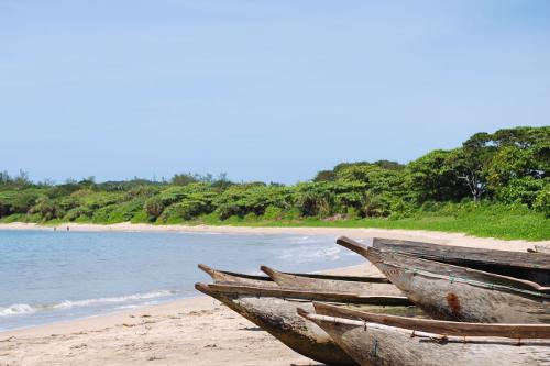 pirogues on the beach, sainte luce, madagascar