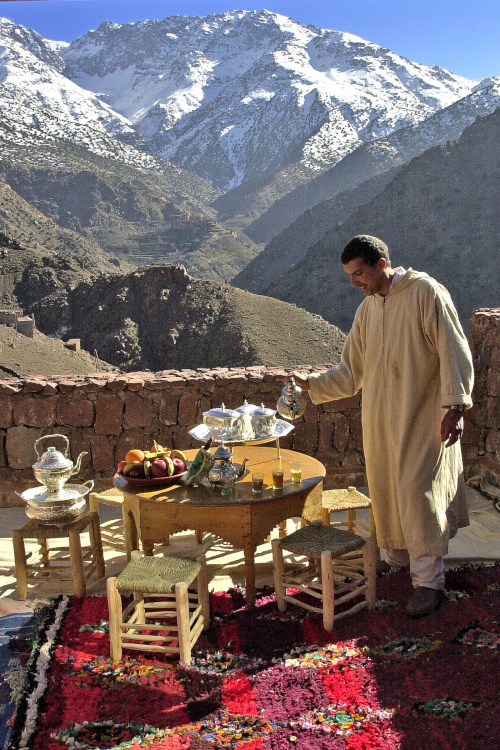 Tea time in the lodge at the trekking lodge, Morocco