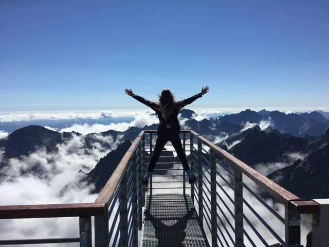 woman balancing high altitude