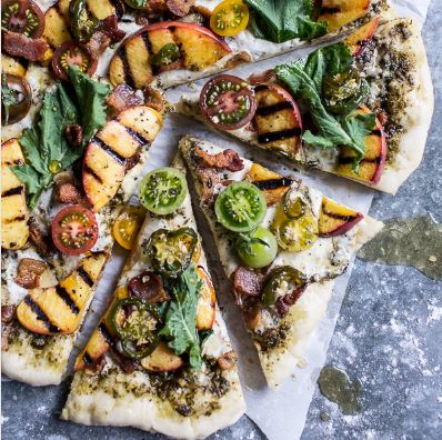 BLT Pizza with Grilled Peaches