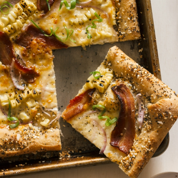 Charred Corn and Bacon Pizza