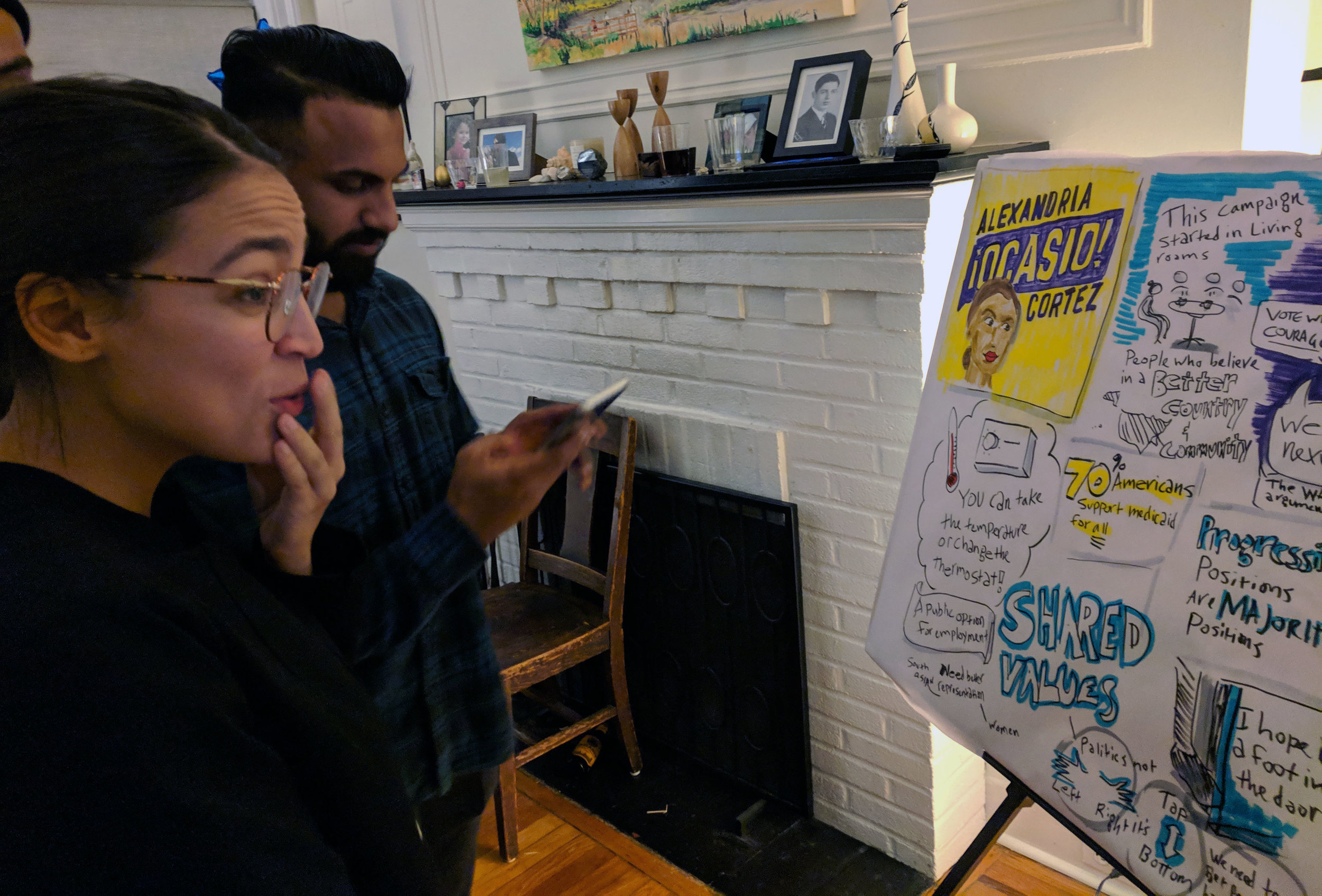 Representative Ocasio-Cortez soaking up the visual listening piece I created during her talk at a political event in Queens. Recently I have been doing a lot of work to support political candidates I wanted to see elected. Art materials: markers and paper.