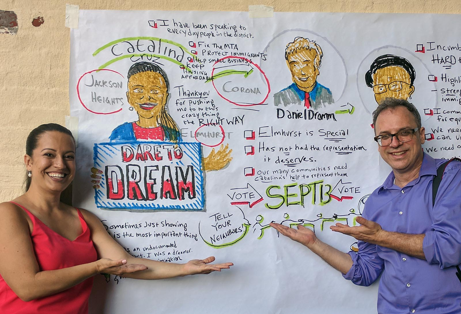 This piece was for candidate Catalina Cruz, who was subsequently elected to the state assembly as the first former Dreamer elected to that office in New York. I captured remarks by Cruz as well as city council members Danny Dromm and Margaret Chin. assembly member Cruz pictured at left. Art materials: markers and paper.