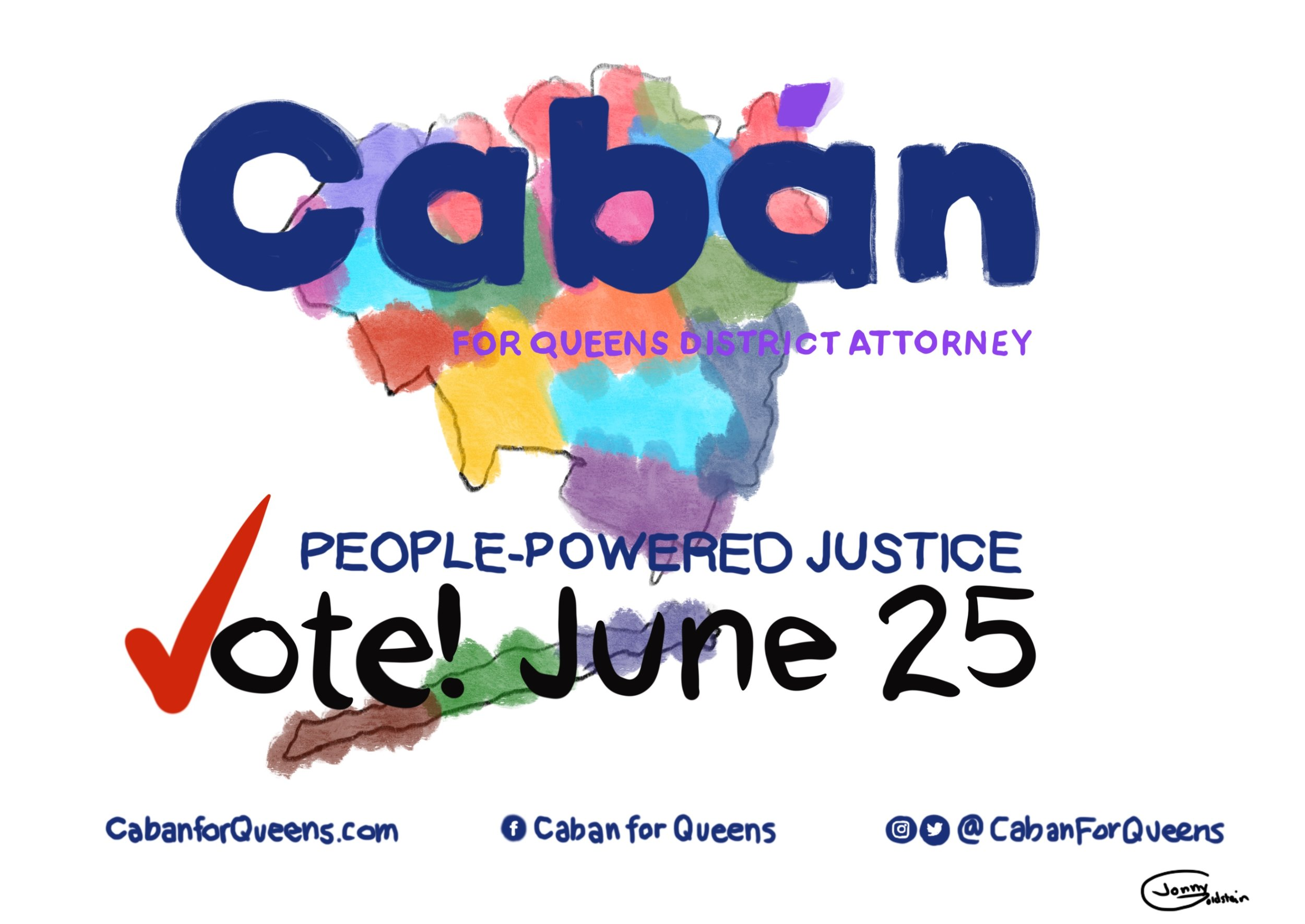 This postcard was commissioned for Queens District Attorney candidate Tiffany Caban's campaign. Medium and tools: digital painting and illustration using a painting app on an iPad digital painting and illustration using painting app on an iPad.