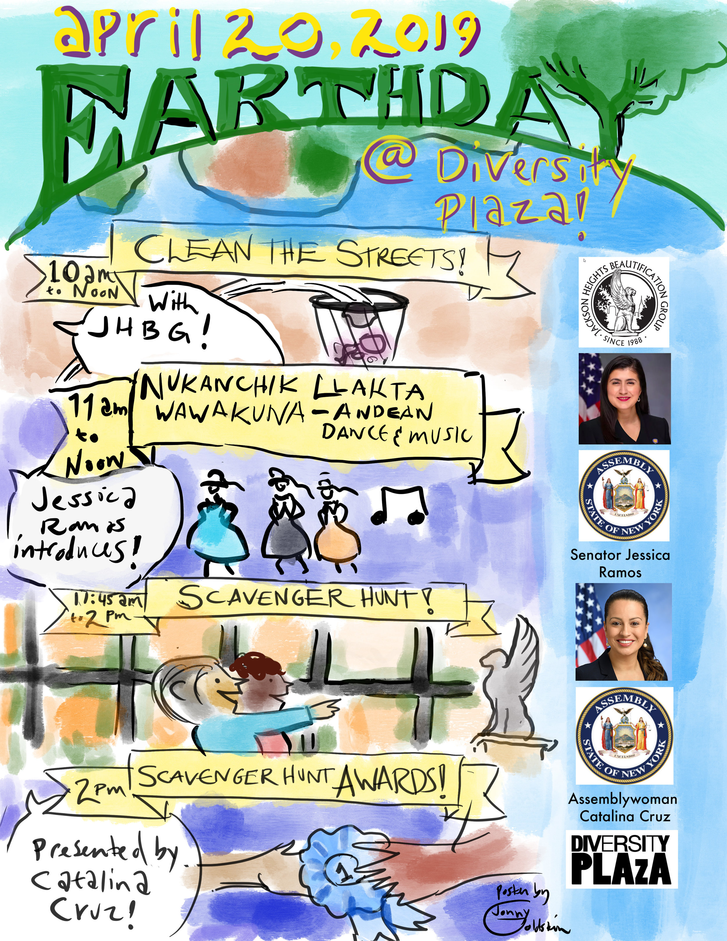 Poster created for Earth Day celebration in Jackson Heights, Queens. Medium and tools: digital painting and illustration using a painting app on an iPad digital painting and illustration using a painting app on an iPad. Type, photos, and government seals added with Photoshop.