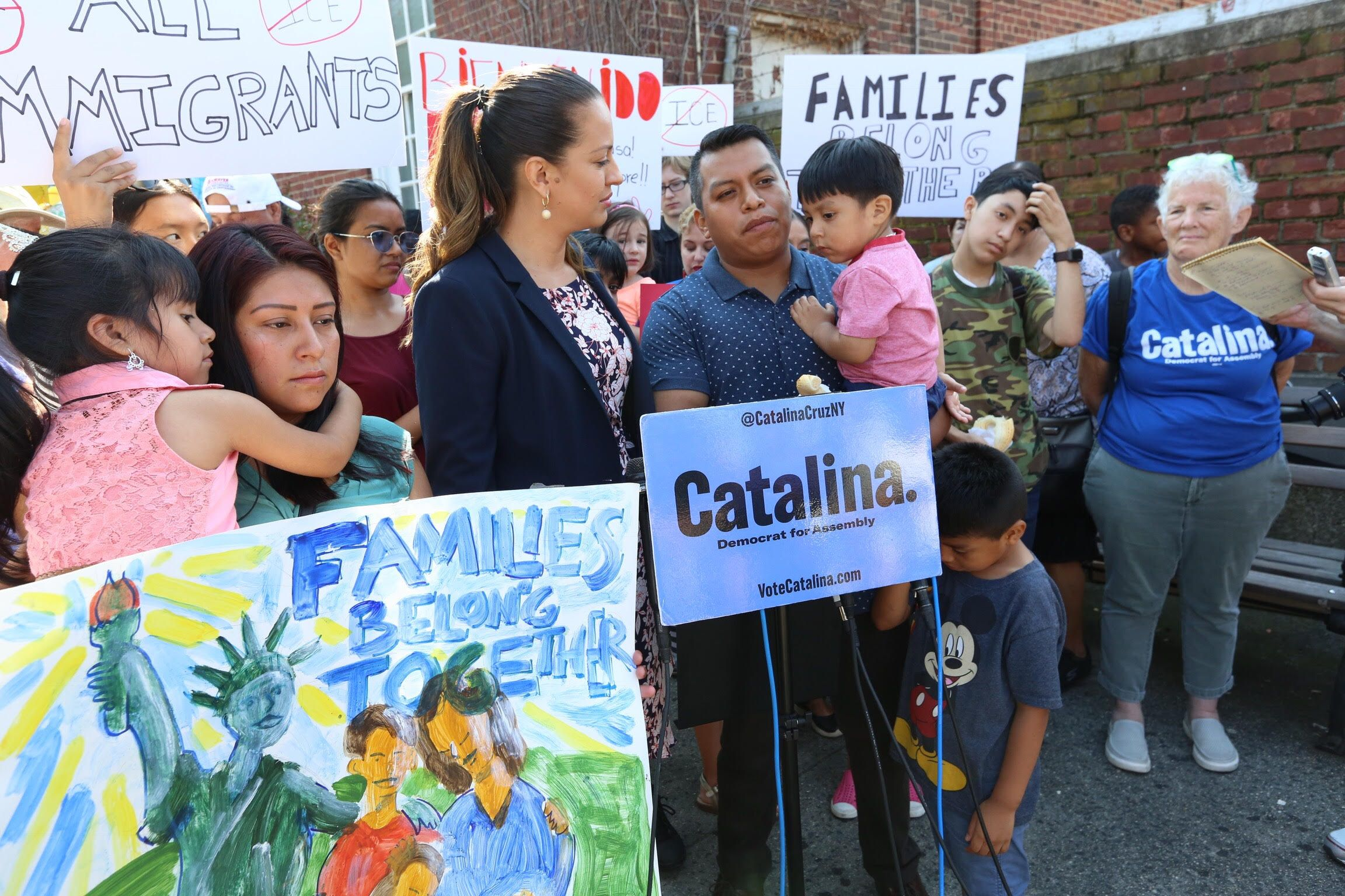 I am showing this work in context. In the lower left there is a painting of a family with the statue of liberty. I made this for a press conference where NY State Assembly candidate Catalina Cruz highlighted the trauma of separating undocumented family members from each other. In this case Alfredo F. (in the blue shirt holding his child) was detained by INS while travelling to work. Alfredo's wife is holding the painting. Alfredo is still working through the legal process to try to stay in the USA. Materials: acrylic on cardboard.