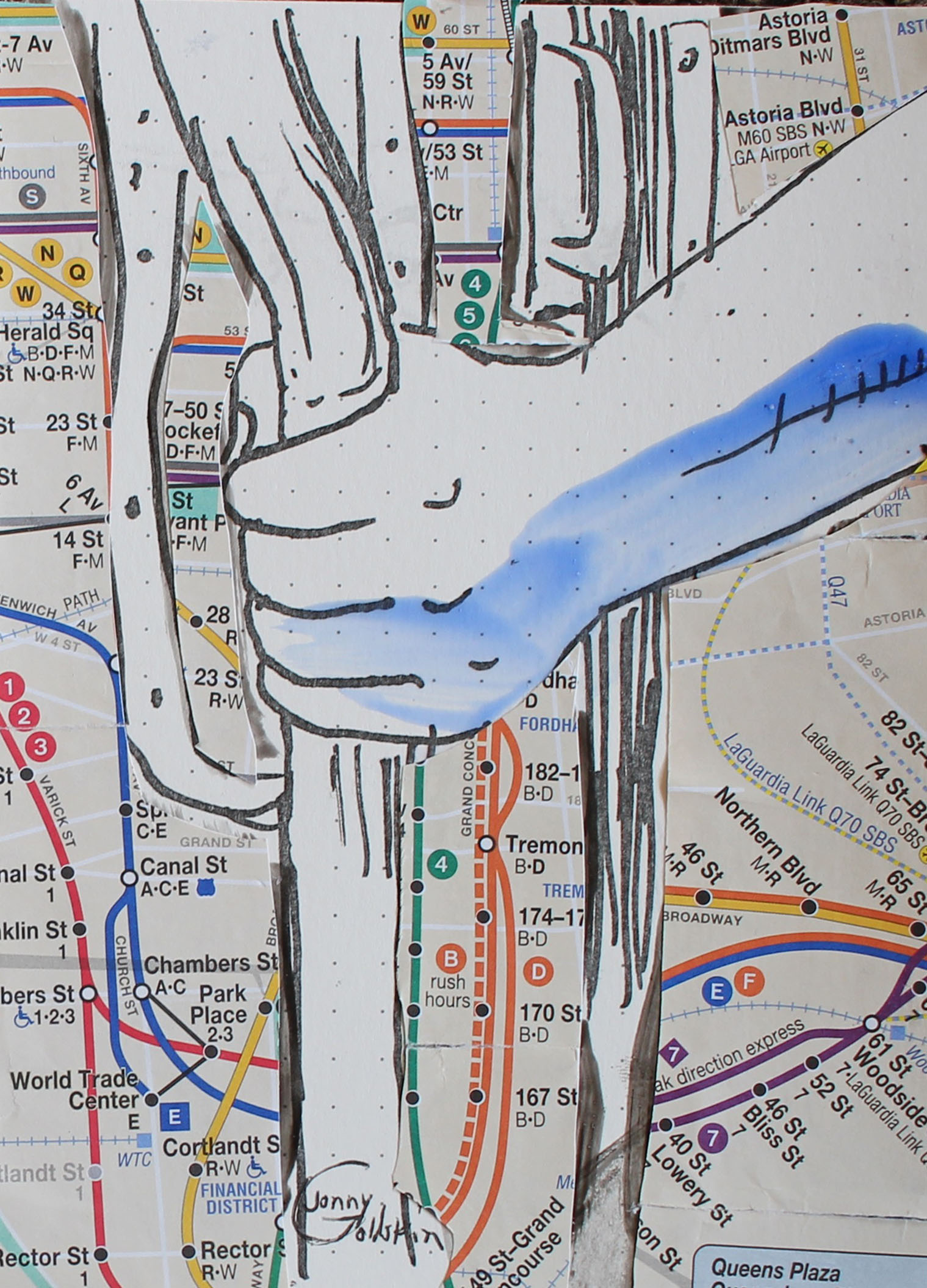 This is another  Subway Series  piece. Materials: xerograph of original ink drawing, colored with acrylic paint, collaged onto a subway map.