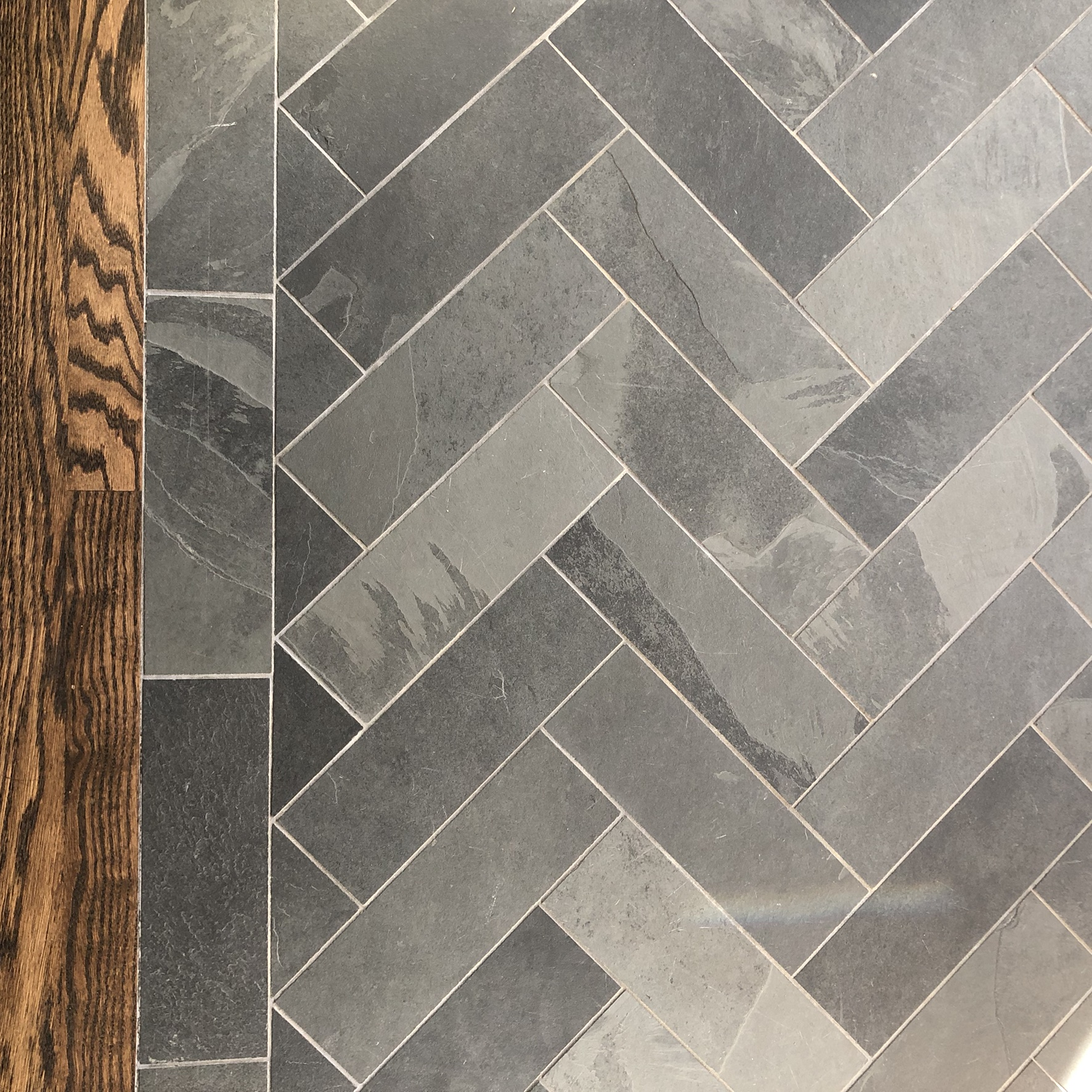 Martin Park farmhouse herringbone slate tile detail