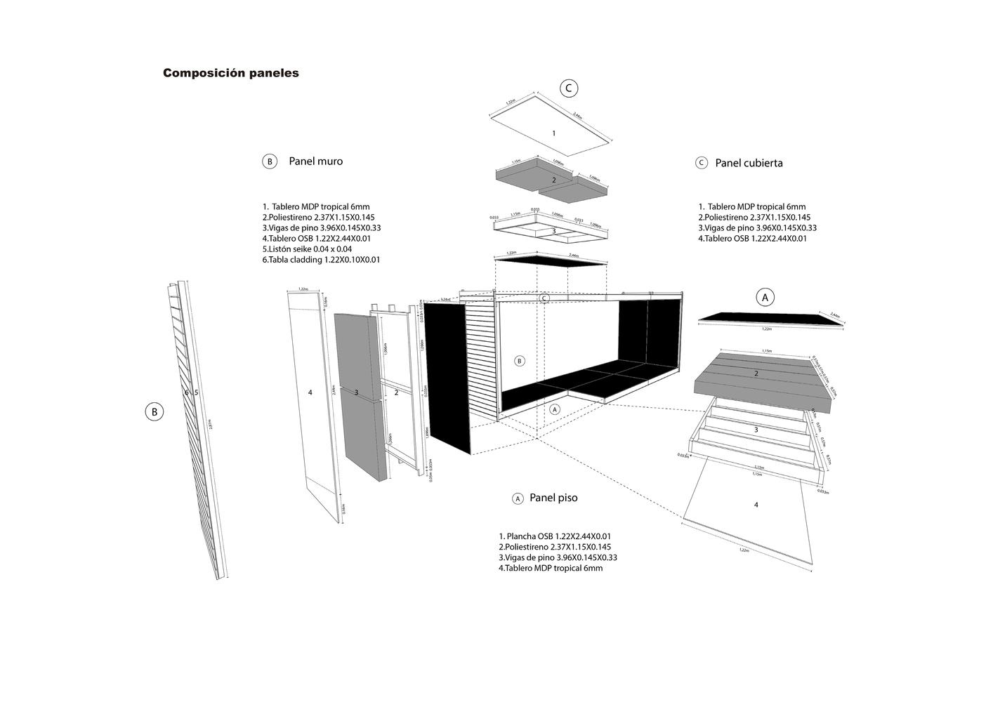 El 90% del material utilizado es madera de pino. Madera sólida para la estructura de piso, paredes cerchas y entrepiso. Tableros de OSB como recubrimiento interno y externo de los paneles. Duelas recicladas quemadas y cepilladas para proteger toda la estructura de la lluvia.