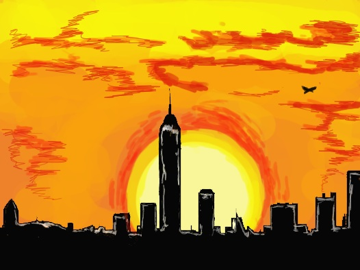 New York City sunset drawn using a tablet, Jasmine Temple