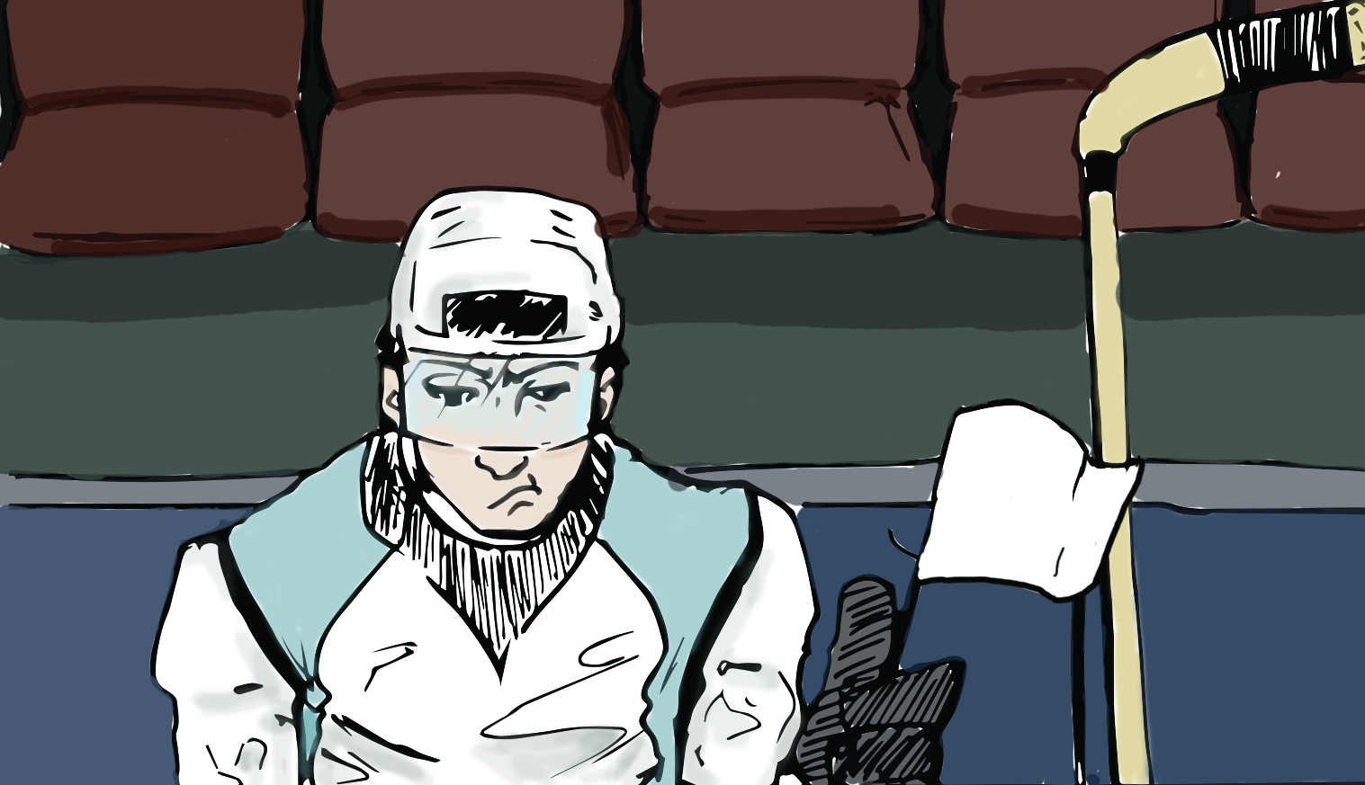 Illustration graphic for an article about a local hockey team not being funded.