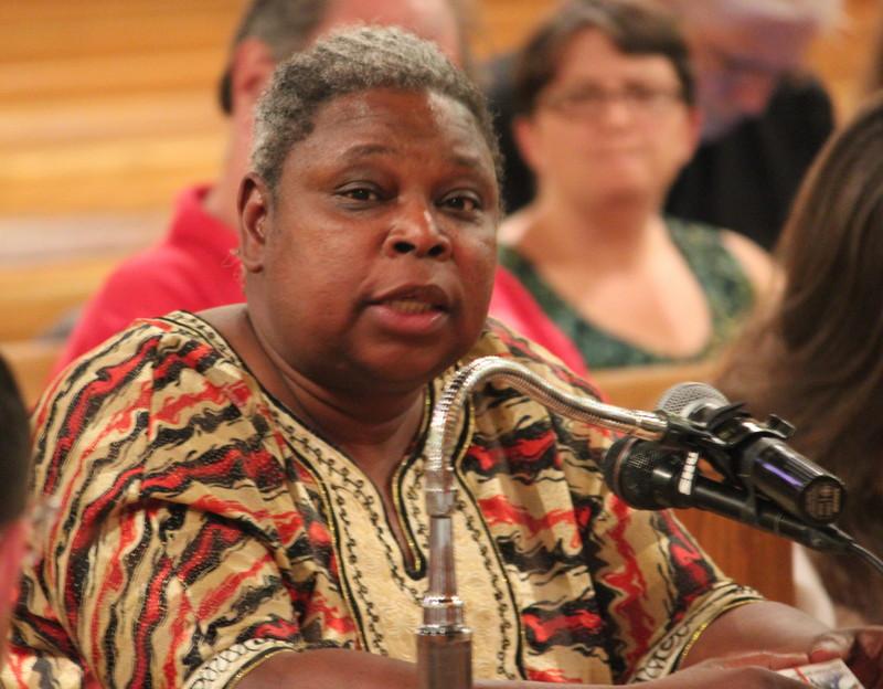Sandra Moody, of the Albany Black Veterans Association, offers testimony.