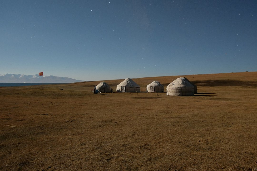 Yurt Camp in Moonlight